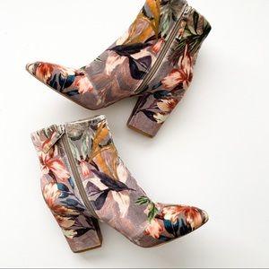 Nine West Savitra block heel booties floral